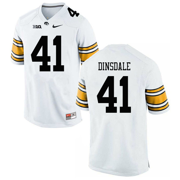 Men #41 Colton Dinsdale Iowa Hawkeyes College Football Jerseys Sale-White