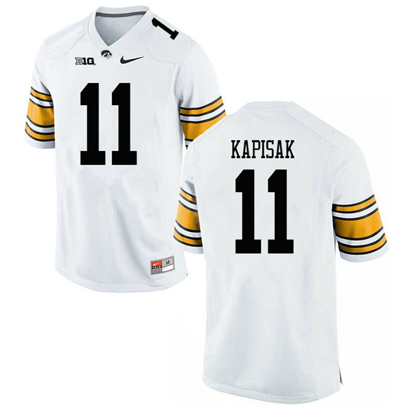 Men #11 Connor Kapisak Iowa Hawkeyes College Football Jerseys Sale-White