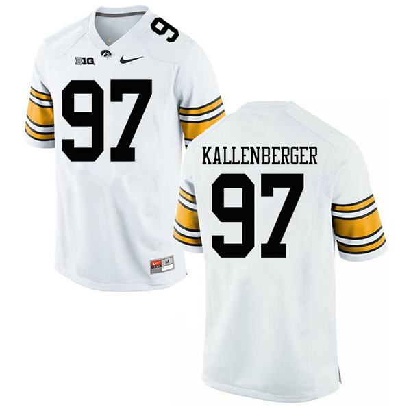 Men #97 Jack Kallenberger Iowa Hawkeyes College Football Jerseys Sale-White