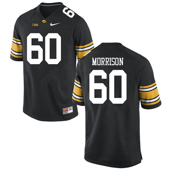 Men #60 Jake Morrison Iowa Hawkeyes College Football Jerseys Sale-Black