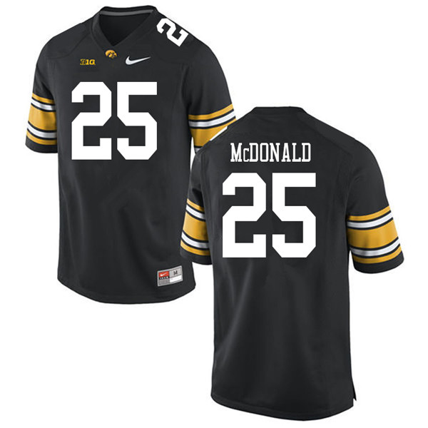 Men #25 Jayden McDonald Iowa Hawkeyes College Football Jerseys Sale-Black