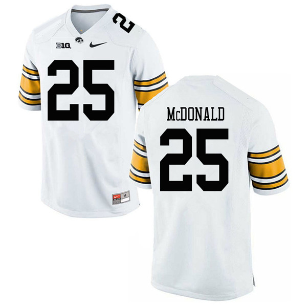 Men #25 Jayden McDonald Iowa Hawkeyes College Football Jerseys Sale-White