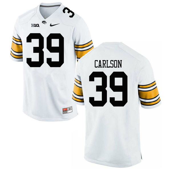 Men #39 John Carlson Iowa Hawkeyes College Football Jerseys Sale-White