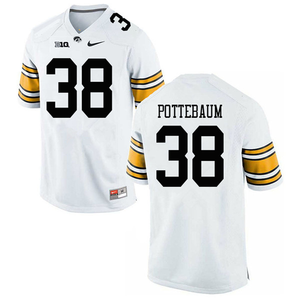 Men #38 Monte Pottebaum Iowa Hawkeyes College Football Jerseys Sale-White