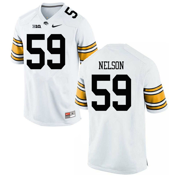 Men #59 Nathan Nelson Iowa Hawkeyes College Football Jerseys Sale-White