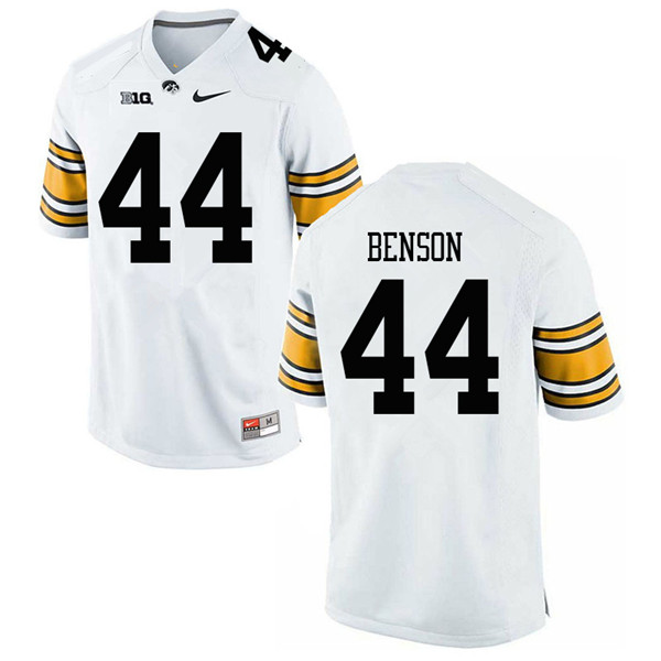 Men #44 Seth Benson Iowa Hawkeyes College Football Jerseys Sale-White