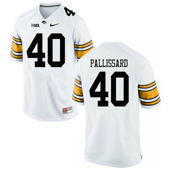 Men #40 Turner Pallissard Iowa Hawkeyes College Football Jerseys Sale-White