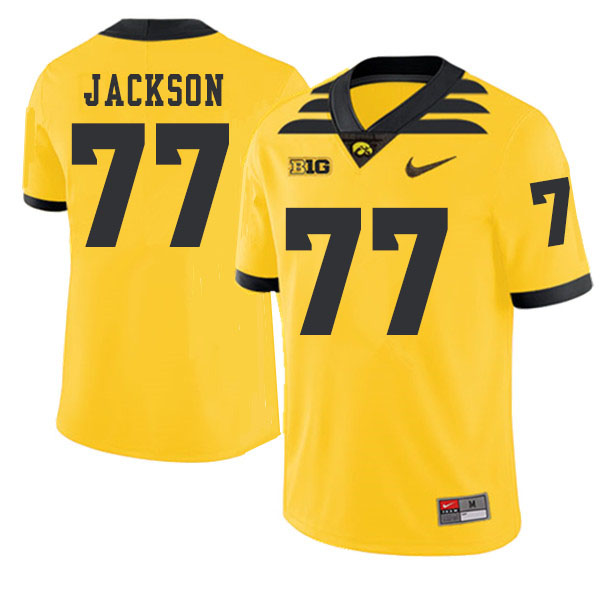 2019 Men #77 Alaric Jackson Iowa Hawkeyes College Football Alternate Jerseys Sale-Gold