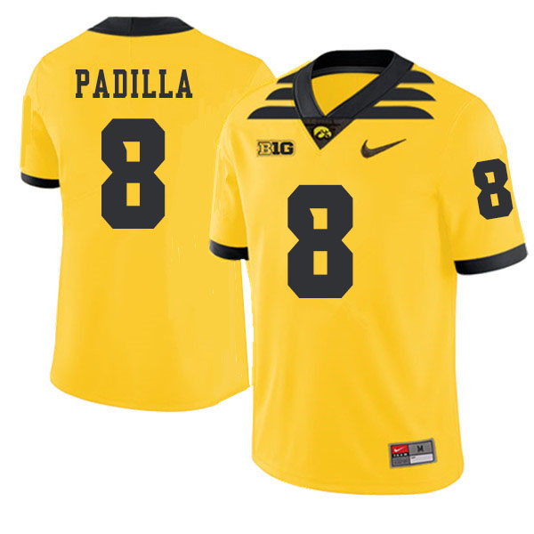 2019 Men #8 Alex Padilla Iowa Hawkeyes College Football Alternate Jerseys Sale-Gold