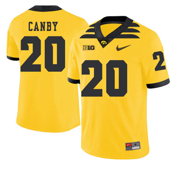 2019 Men #20 Ben Canby Iowa Hawkeyes College Football Alternate Jerseys Sale-Gold