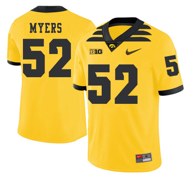 2019 Men #52 Boone Myers Iowa Hawkeyes College Football Alternate Jerseys Sale-Gold