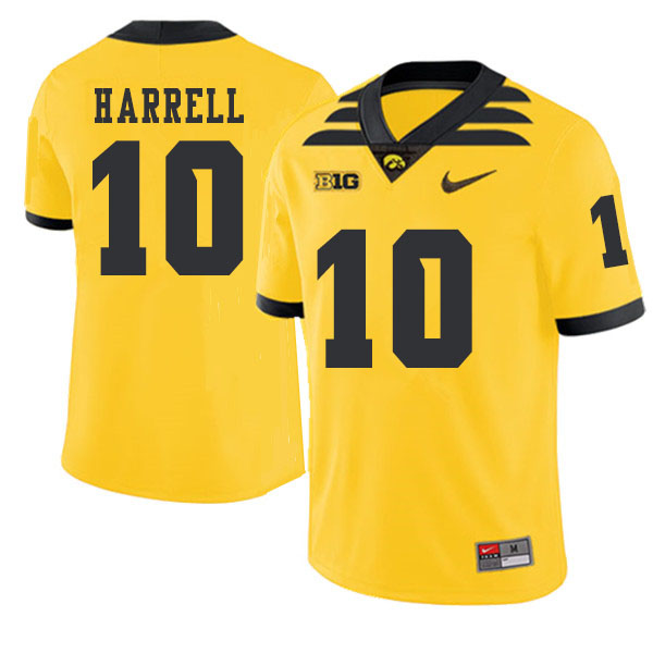 2019 Men #10 Camron Harrell Iowa Hawkeyes College Football Alternate Jerseys Sale-Gold