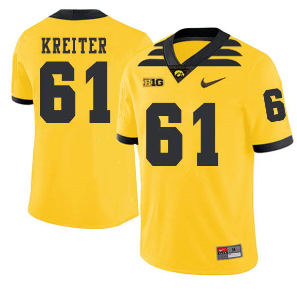 2019 Men #61 Casey Kreiter Iowa Hawkeyes College Football Alternate Jerseys Sale-Gold