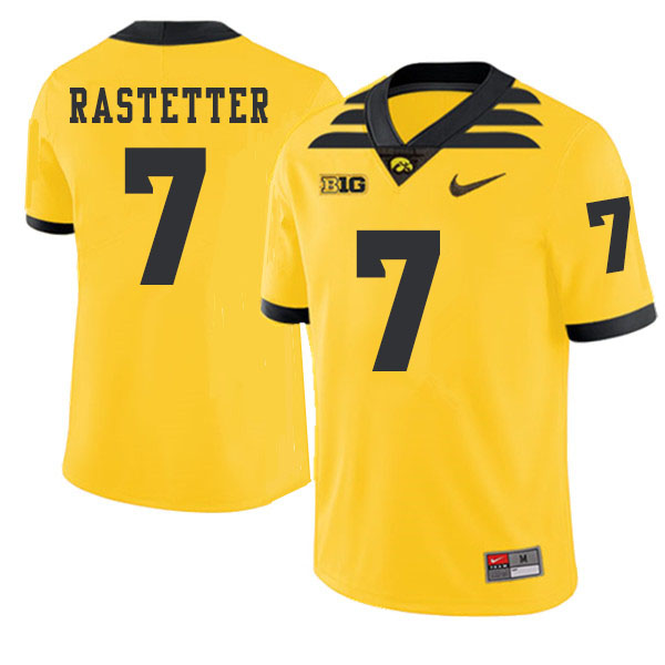 2019 Men #7 Colten Rastetter Iowa Hawkeyes College Football Alternate Jerseys Sale-Gold