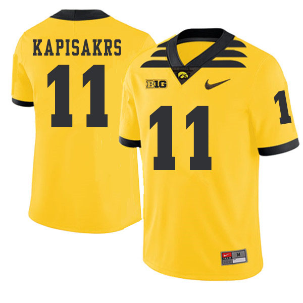 2019 Men #11 Connor Kapisakrs Iowa Hawkeyes College Football Alternate Jerseys Sale-Gold