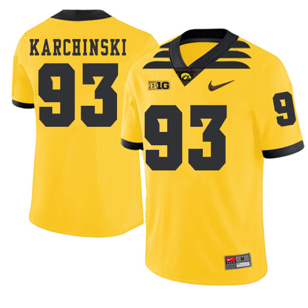 2019 Men #93 Jake Karchinski Iowa Hawkeyes College Football Alternate Jerseys Sale-Gold