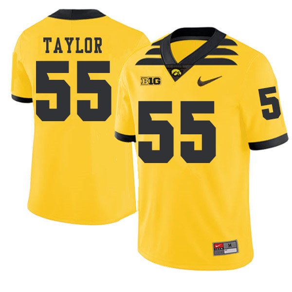 2019 Men #55 Kyle Taylor Iowa Hawkeyes College Football Alternate Jerseys Sale-Gold
