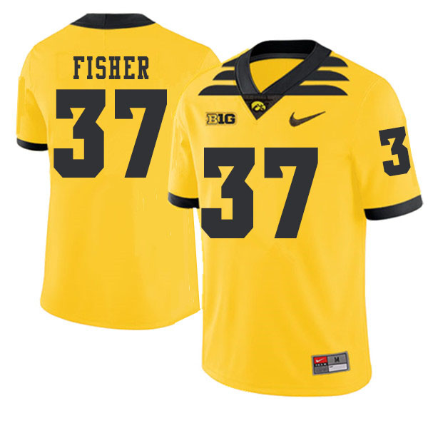 2019 Men #37 Kyler Fisher Iowa Hawkeyes College Football Alternate Jerseys Sale-Gold