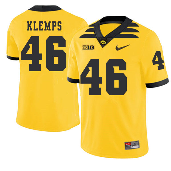 2019 Men #46 Logan Klemps Iowa Hawkeyes College Football Alternate Jerseys Sale-Gold