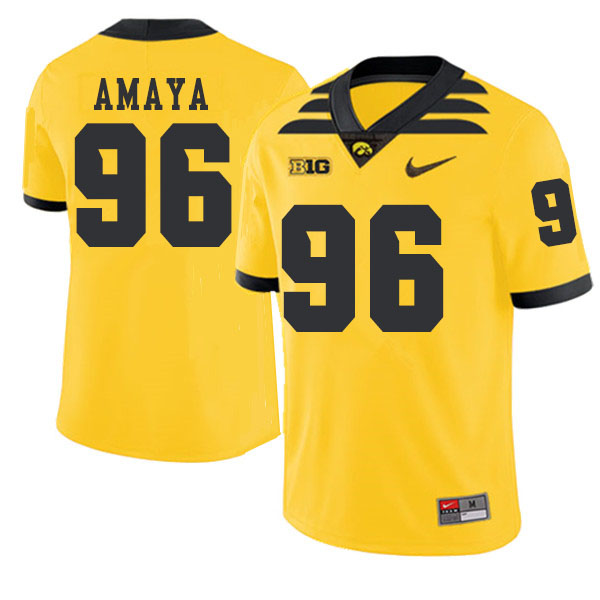 2019 Men #96 Lucas Amaya Iowa Hawkeyes College Football Alternate Jerseys Sale-Gold