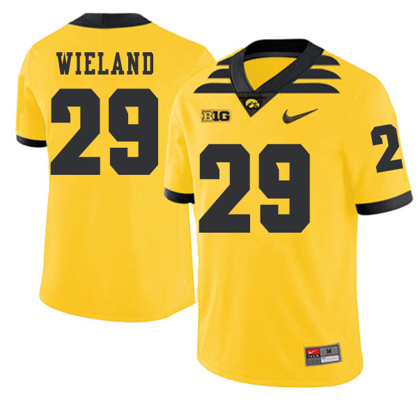 2019 Men #29 Nate Wieland Iowa Hawkeyes College Football Alternate Jerseys Sale-Gold