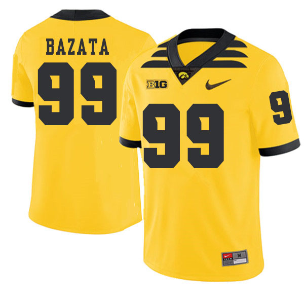 2019 Men #99 Nathan Bazata Iowa Hawkeyes College Football Alternate Jerseys Sale-Gold