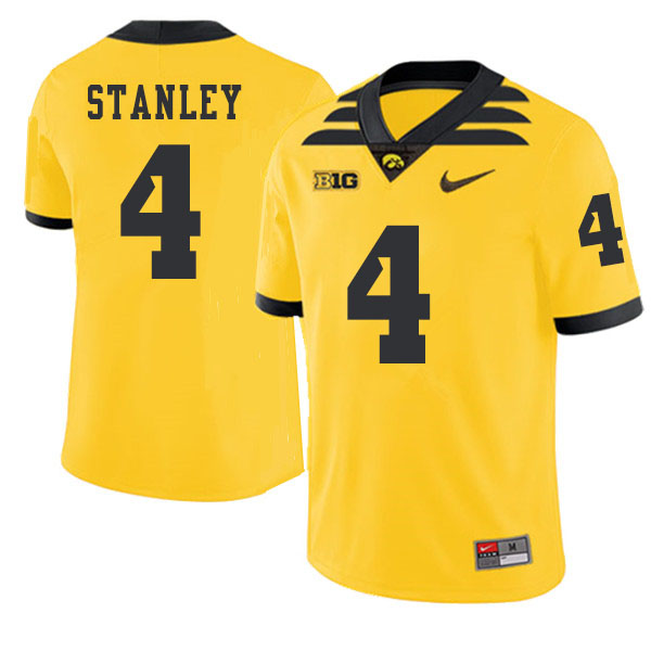 2019 Men #4 Nathan Stanley Iowa Hawkeyes College Football Alternate Jerseys Sale-Gold