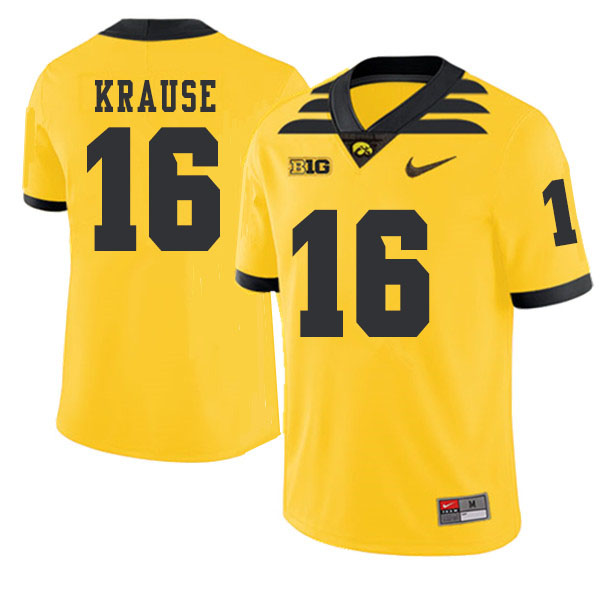 2019 Men #16 Paul Krause Iowa Hawkeyes College Football Alternate Jerseys Sale-Gold