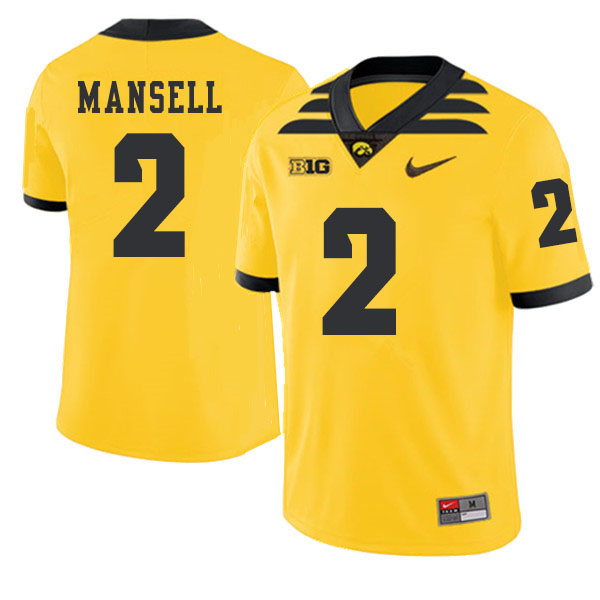 2019 Men #2 Peyton Mansell Iowa Hawkeyes College Football Alternate Jerseys Sale-Gold