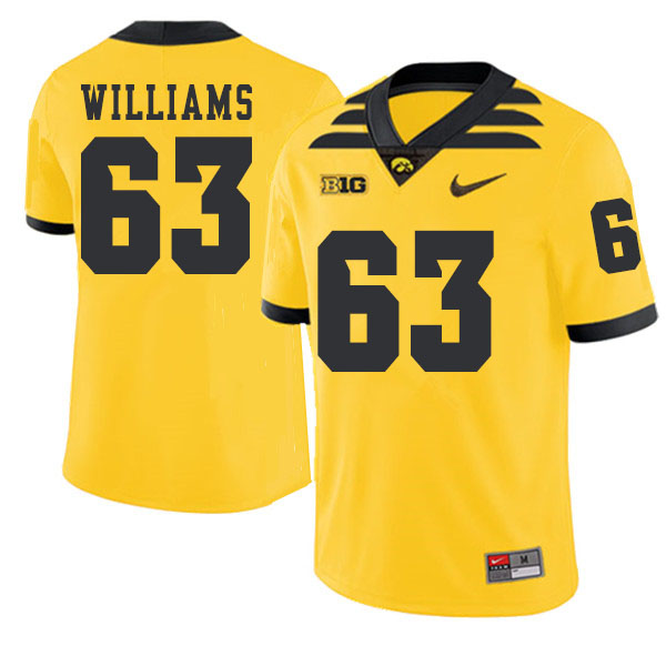 2019 Men #63 Spencer Williams Iowa Hawkeyes College Football Alternate Jerseys Sale-Gold