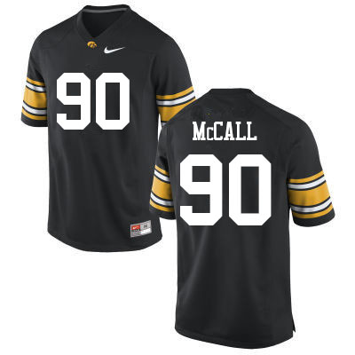 Men #90 Taajhir McCall Iowa Hawkeyes College Football Jerseys Sale-Black