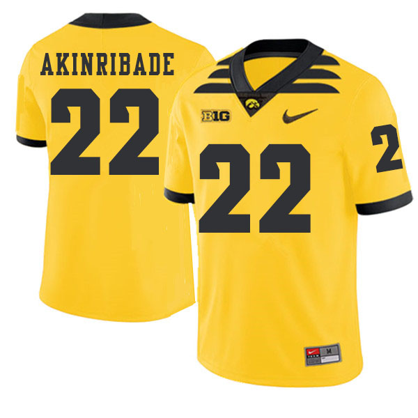 2019 Men #22 Toks Akinribade Iowa Hawkeyes College Football Alternate Jerseys Sale-Gold