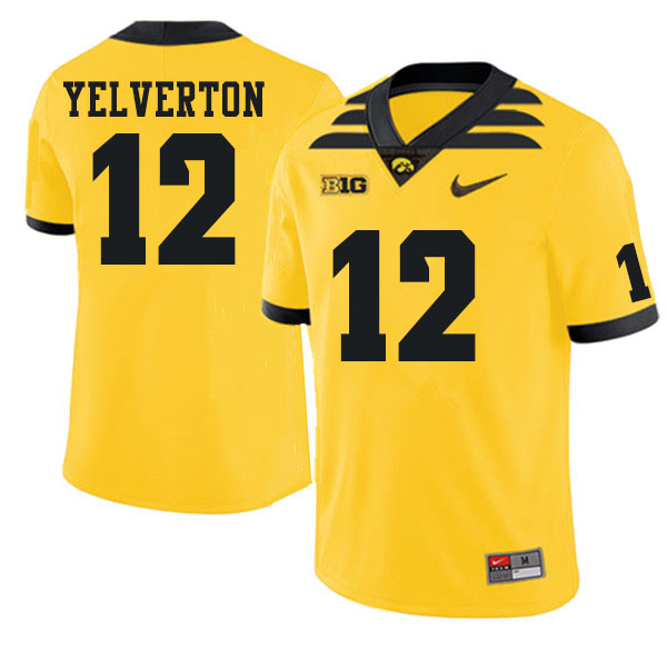 Men #12 Elijah Yelverton Iowa Hawkeyes College Football Jerseys Sale-Gold
