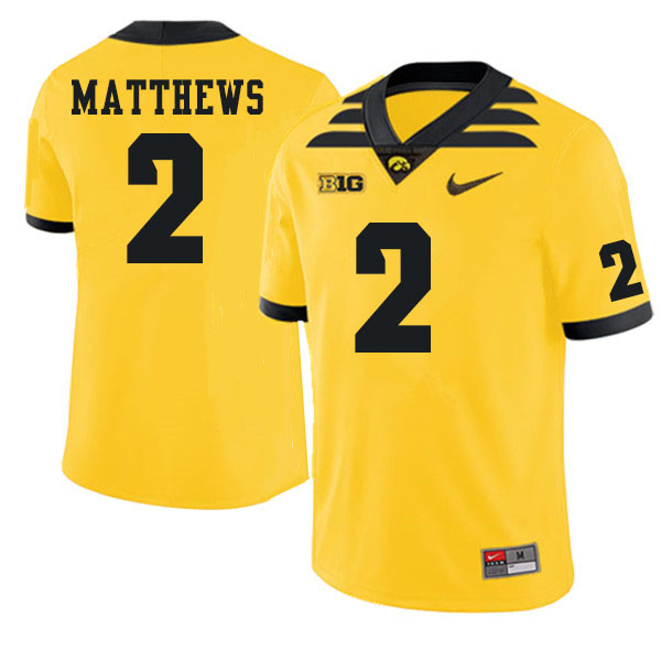 Men #2 Quavon Matthews Iowa Hawkeyes College Football Jerseys Sale-Gold