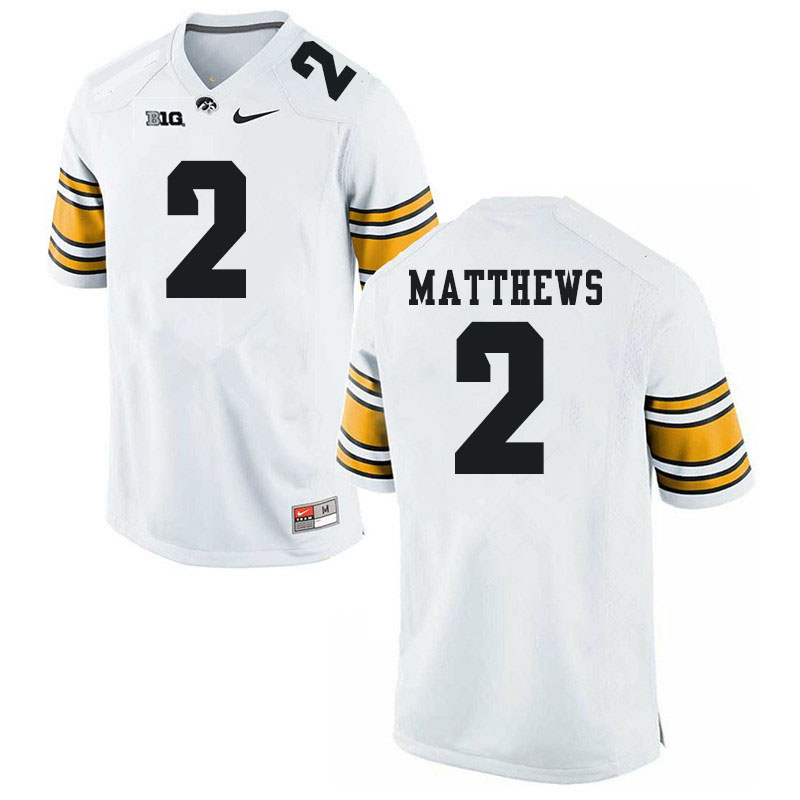 Men #2 Quavon Matthews Iowa Hawkeyes College Football Jerseys Sale-White