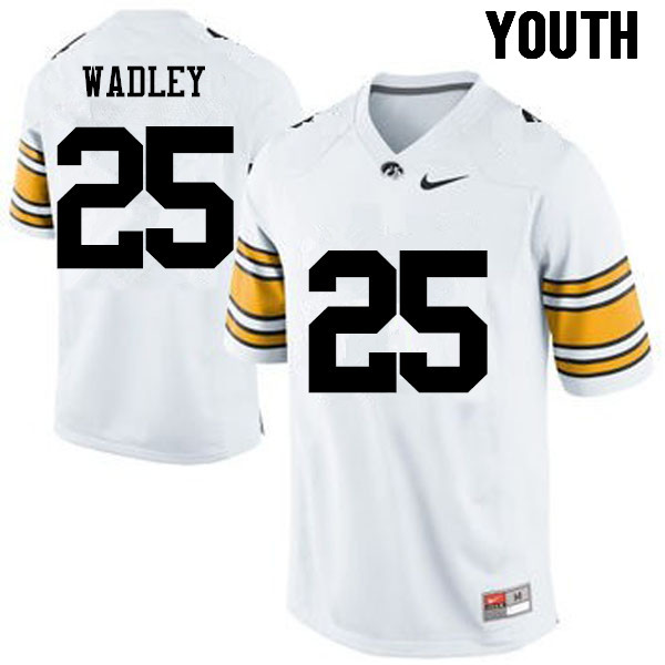 Youth Iowa Hawkeyes #25 Akrum Wadley College Football Jerseys-White