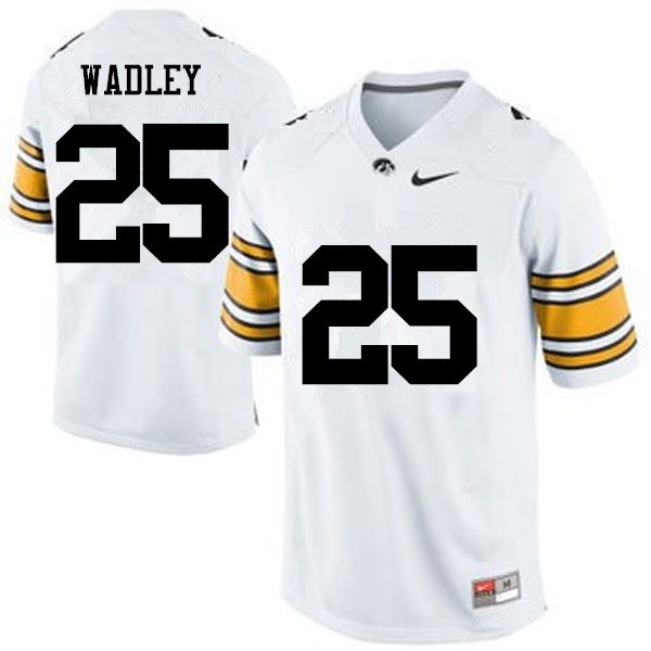Men Iowa Hawkeyes #25 Akrum Wadley College Football Jerseys-White