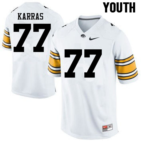 Youth Iowa Hawkeyes #77 Alex Karras College Football Jerseys-White