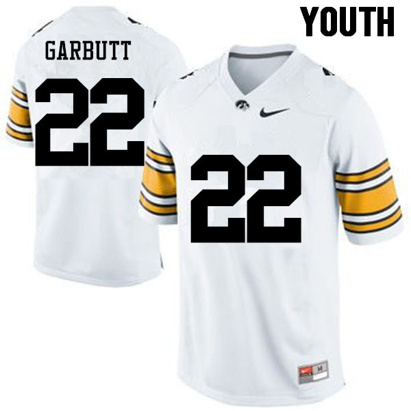 Youth Iowa Hawkeyes #22 Angelo Garbutt College Football Jerseys-White