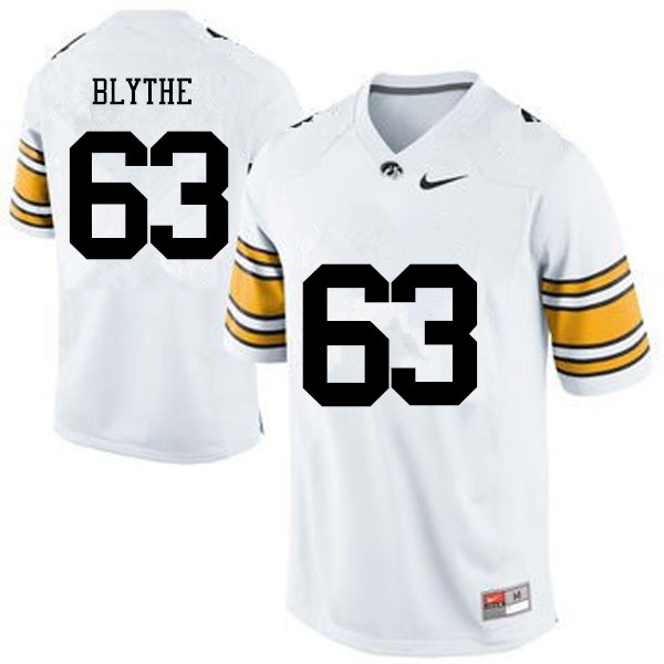 Men Iowa Hawkeyes #63 Austin Blythe College Football Jerseys-White