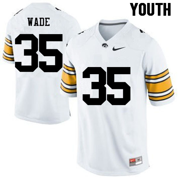 Youth Iowa Hawkeyes #35 Barrington Wade College Football Jerseys-White