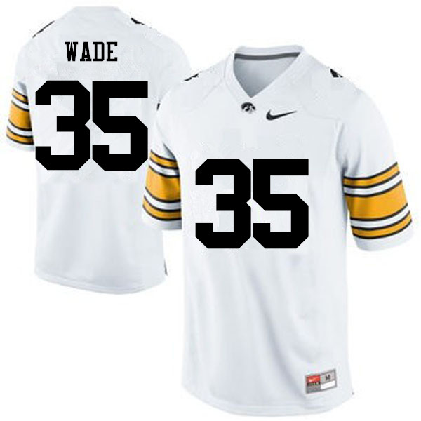 Men Iowa Hawkeyes #35 Barrington Wade College Football Jerseys-White
