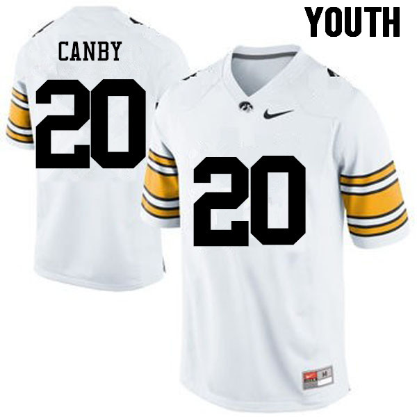 Youth Iowa Hawkeyes #20 Ben Canby College Football Jerseys-White