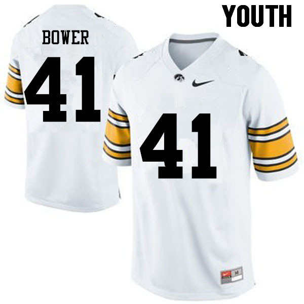 Youth Iowa Hawkeyes #41 Bo Bower College Football Jerseys-White
