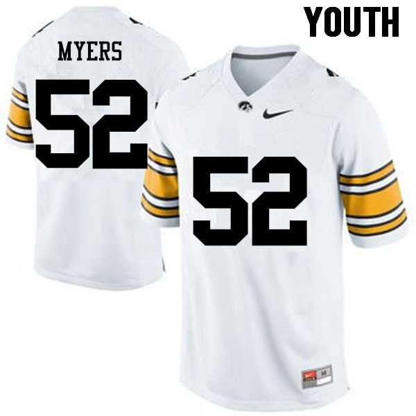 Youth Iowa Hawkeyes #52 Boone Myers College Football Jerseys-White