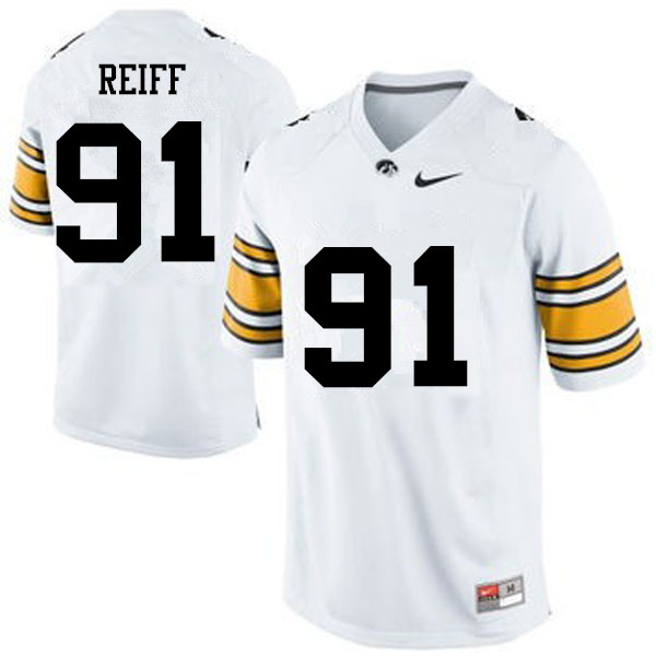 Men Iowa Hawkeyes #91 Brady Reiff College Football Jerseys-White