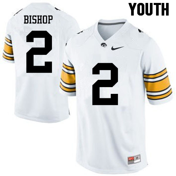 Youth Iowa Hawkeyes #2 Brandon Bishop College Football Jerseys-White