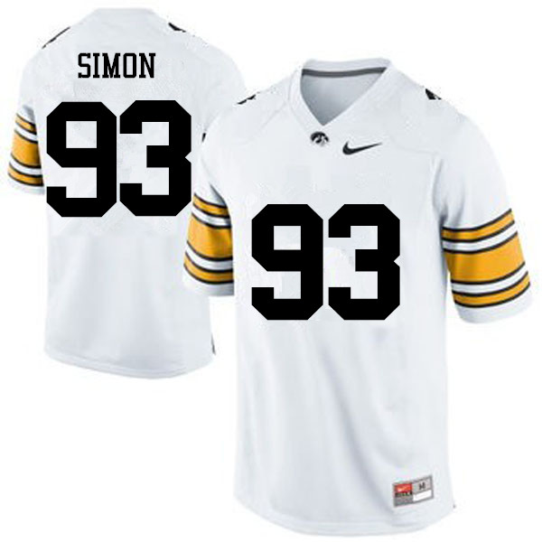 Men Iowa Hawkeyes #93 Brandon Simon College Football Jerseys-White