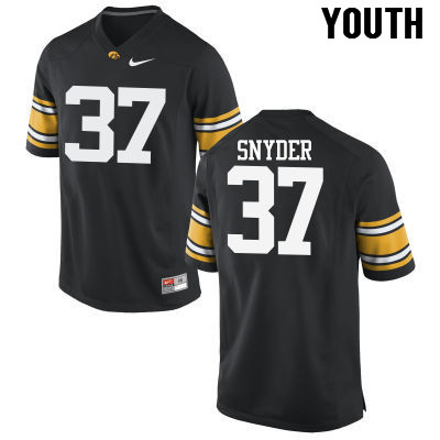 Youth Iowa Hawkeyes #37 Brandon Snyder College Football Jerseys-Black