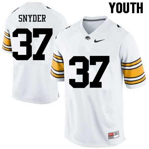 Youth Iowa Hawkeyes #37 Brandon Snyder College Football Jerseys-White